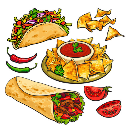ground beef: Set of traditional Mexican food - burrito, taco, nachos and chili salsa sauce, sketch style vector illustration on white background. Hand drawn Mexican burrito, taco, nachos and salsa sauce