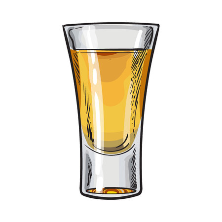Vol glas goud tequila, schets vector illustratie geïsoleerd op een witte achtergrond. Hand getrokken tequila, gin, cognac, rum, whisky alcohol schot