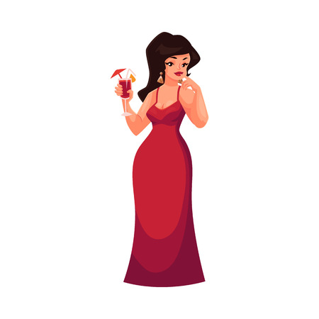 Cute curvy, overweight girl in red evening dress holding a cocktail, cartoon vector illustration isolated on white background. Smiling fat, chubby, curvy girl in red evening gown drinking cocktail Illustration