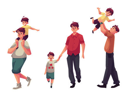 father and son holding hands: Father and son, set of cartoon vector illustrations isolated on white background. Dad carrying little son on shoulders, throwing him into air and walking together holding hands, happy family concept