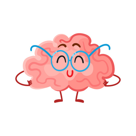 Funny smiling brain in round glasses, cartoon vector illustration on white background. Cute brain character in nerdy glasses as a symbol of brain training, education and development Ilustracja