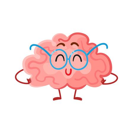 Grappig glimlachend hersenen in ronde glazen, cartoon vector illustratie op een witte achtergrond. Leuke hersenen personage in nerdy bril als een symbool van de hersenen training, opleiding en ontwikkeling