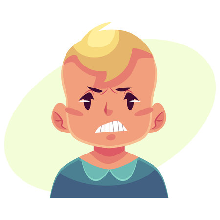 Little boy face, angry facial expression, cartoon vector illustrations isolated on yellow background. Blond male kid emoji face, feeling distresses, frustrated, sullen, upset. Angry face expression Illustration
