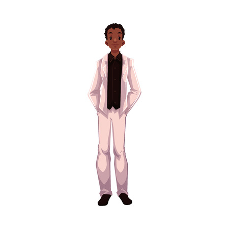 fiance: African American groom, fiance, just married man, cartoon vector illustration isolated on white background. Black groom in fashionable clothing getting married