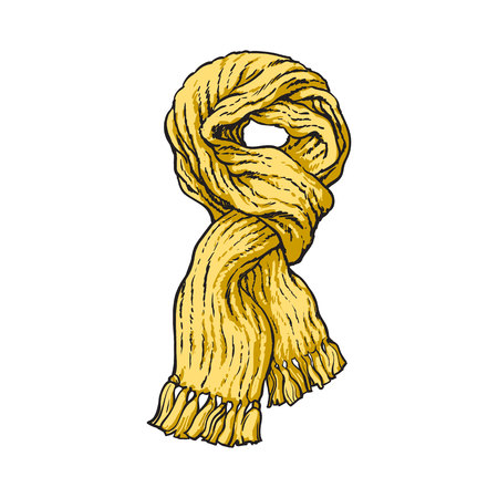 woolen: Bright yellow slip knotted winter knitted scarf with tassels, sketch style vector illustrations isolated on white background. Hand drawn fluffy woolen scarf tied in slip knot, winter accessory