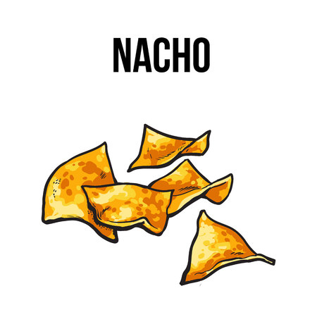 chips and salsa: Nachos, traditional Mexican food made, sketch style vector illustration on white background. Hand drawn Mexican nachos, tortilla chips serves