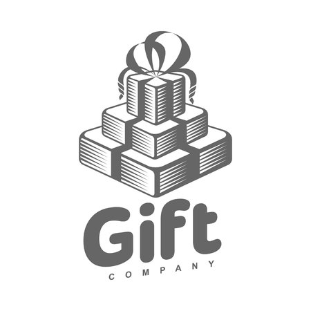 black and white graphic line art gift box  templates, vector illustration isolated on white background. Gif box with ribbon and bow, hand offering a gift, giving a present Illustration
