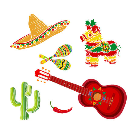 pinata: Mexican set - sombrero, pinata, maraca, tequila cactus, chili and spanish guitar, vector illustration isolated on white background. Mexican sombrero, rumba shakers, ornamented pinata, cactus