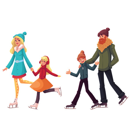 Happy family of father, mother, sister and son ice skating together, cartoon vector illustrations isolated on white background. Happy, cheerful cartoon style family skating, winter activity Ilustração