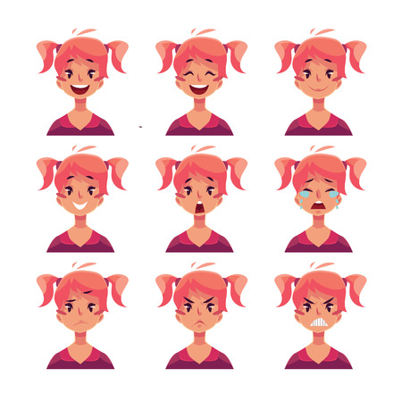 ponytails: Teen girl face expression, set of cartoon vector illustrations isolated on white background. Red-haired girl with ponytails emoji face icons, set of female teen avatars with different emotions