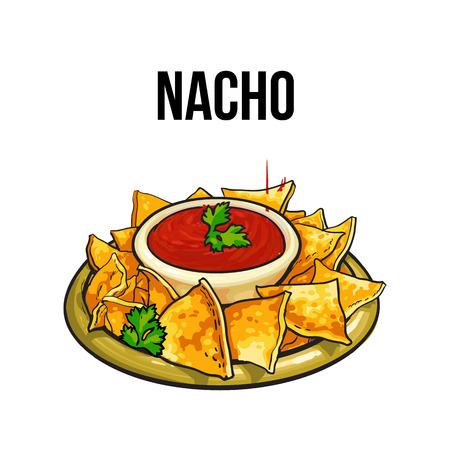 Nachos, cucina tradizionale messicana fatta di tortilla di mais con salsa di salsa, schizzo stile illustrazione vettoriale su sfondo bianco. A mano nachos messicani, tortilla chips serve con contorno di pomodoro Vettoriali