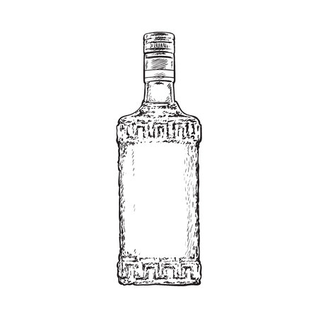 Bottle full of black and white tequila, sketch vector illustration isolated on white background. Hand drawn engraved bottle of tequila, gin, brandy, rum, whiskey alcohol beverage Çizim