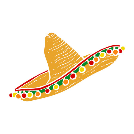 Traditional Mexican wide brimmed sombrero hat, vector illustration isolated on white background. Hand drawn Mexican sombrero