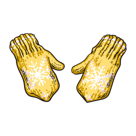 Pair of bright yellow winter knitted mittens with snowflakes, sketch style vector illustrations isolated on white background. Hand drawn woolen mittens with knitted snoflakes, winter accessory