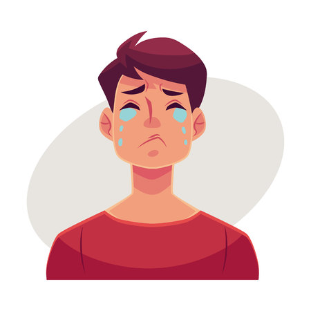 sad heart: Young man face, crying facial expression, cartoon vector illustrations isolated on gray background. Handsome boy emoji crying, shedding tears, sad, heart broken, in grief. Illustration