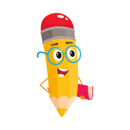Yellow cartoon pencil in glasses telling something clever and pointing finger up, vector illustration isolated on white background. Humanized funny pencil teacher in large nerdy glasses