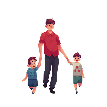 Father with two son walking together, cartoon vector illustrations isolated on white background. Young handsome dad holding his little brothers son hand and walking together, happy family