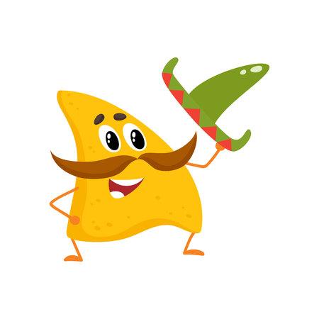 tortilla de maiz: Sonriendo nachos con espeso bigote y sombrero mexicano, ilustración vectorial de dibujos animados aislado en el fondo blanco. Los nachos mexicanos humanizados con grandes bigotes, levantando el sombrero en señal de saludo