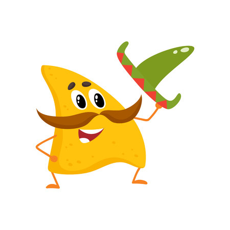 Smiling nachos with thick moustache and Mexican sombrero, cartoon vector illustration isolated on white background. Humanized Mexican nachos with large whiskers, raising sombrero in greeting Vettoriali