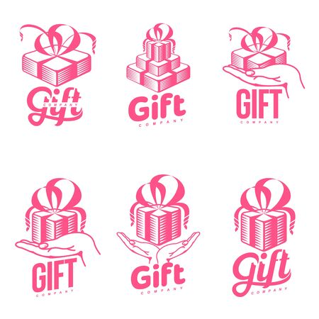 Set of pink and white graphic line art gift box  templates, vector illustration isolated on white background. Gif box with ribbon and bow, hand offering a gift, giving a present Illustration