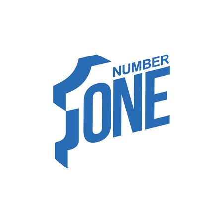 blue and white number one diagonal  template, vector illustrations isolated on white background. Graphic  with diagonal   with number one