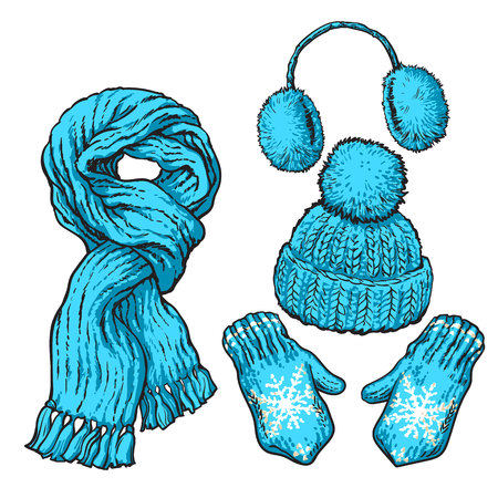ear muffs: Set of bright blue knotted scarf, hat, ear muffs and mittens, sketch style vector illustrations isolated on white background. Hand drawn woolen scarf, hat with a pompom, mittens and ear warmers