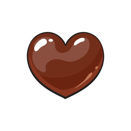 dark chocolate: Heart shaped dark chocolate candy, sketch style vector illustration isolated on white background. Candy, bonbon, praline covered with milk or dark chocolate, appetizing shiny hand drawn dessert Illustration