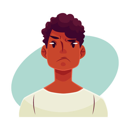 Young african man face, angry facial expression, cartoon vector illustrations isolated on blue background. Handsome boy emoji, feeling distressed, frustrated, sullen, upset. Angry face expression Illustration