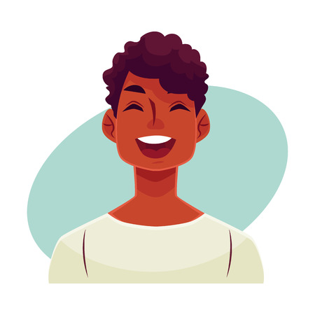flirty: Young african man face, laughing facial expression, cartoon vector illustrations isolated on blue background. Handsome boy emoji laughing out load with closed eyes and open mouth. Laughing face