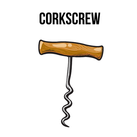 old  fashioned: Old fashioned corkscrew with a metal spiral and wooden handle, sketch style vector illustration isolated on white background. Retro style stainless steel corkscrew or bottle opener Illustration