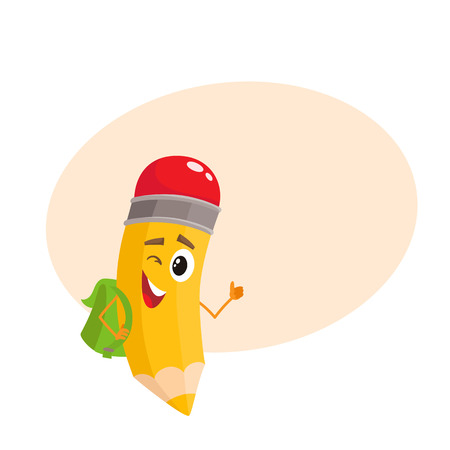 Yellow cartoon pencil with backpack winking and giving okay, vector illustration isolated on beige background for the text. Humanized funny pencil with a green backpack winks and gives OK Illustration