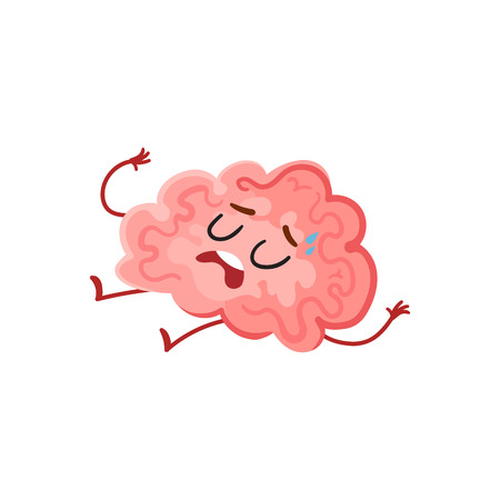 Funny tired, stressed out brain sweating and lying exhausted, cartoon vector illustration on white background. Cute worn out brain character as a symbol of stress and overtraining