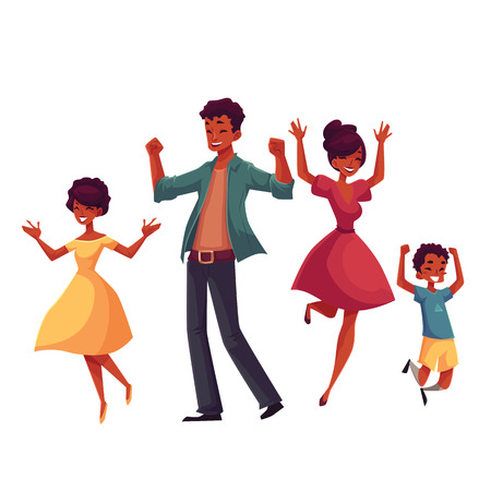 Cheerful black family jumping from happiness, cartoon vector illustrations isolated on white background. Happy African Americn family of father, mother, sister and son jumping in excitement