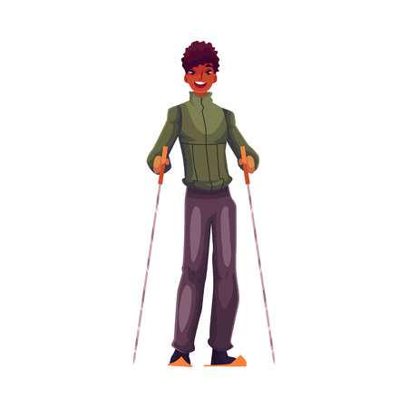 young black man: Young black man with ski and poles, cartoon vector illustration isolated on white background. Full height portrait of handsome African American male skier, fun winter activity, outdoor leisure time