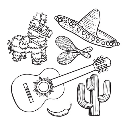 pinata: Mexican set - sombrero, pinata, maraca, tequila cactus, chili spanish guitar, black white sketch vector illustration isolated on background. Mexican sombrero, rumba shakers, ornamented pinata, cactus Illustration