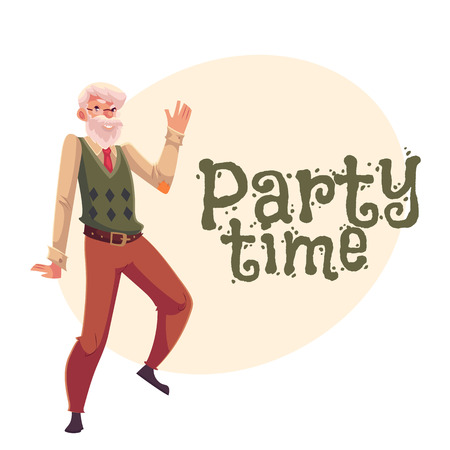 Old, senior, gray-haired man dancing happily, cartoon style invitation, banner, poster, greeting card design. Party invitation, advertisement, poster template with old man dancing happily Illustration