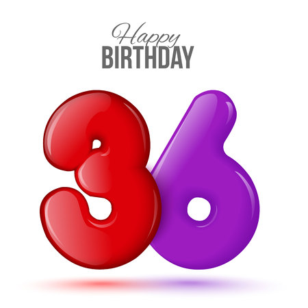 number 36: thirty six birthday greeting card template with 3d shiny number thirty six balloon on white background. Birthday party greeting, invitation card, banner with number 36 shaped balloon