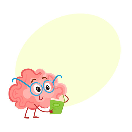 science symbols metaphors: Funny smiling brain in round glasses reading a book, cartoon vector illustration on yellow background for text. Cute brain character in nerdy glasses with book as symbol of training and education