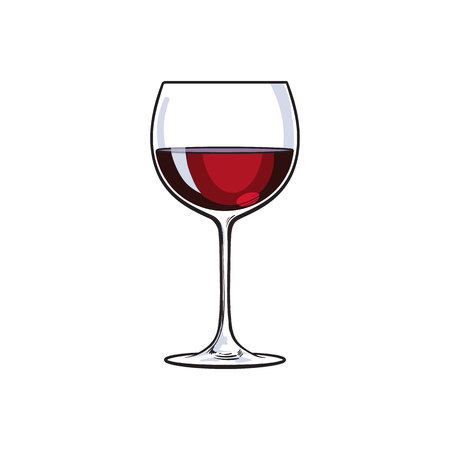 Bicchiere di vino rosso, illustrazione vettoriale stile schizzo isolato su sfondo bianco. Disegno realistico della mano di un bicchiere con vino rosso, simbolo della celebrazione