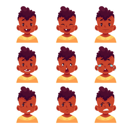 black baby boy: Little boy face expression, set of cartoon vector illustrations isolated on white background. black male kid emoji face icons, facial expressions, set of baby boy avatars with different emotions Illustration