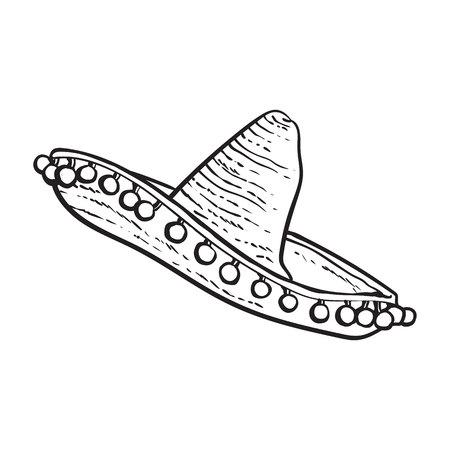 伝統的なメキシコ広いつばソンブレロ帽子、黒と白スケッチ スタイル ベクトル イラスト白背景に分離されました。手描きのメキシコのソンブレロ