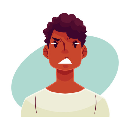concerned: Young african man face, upset, confused facial expression, cartoon vector illustrations isolated on blue background. Handsome boy feeling upset, concerned, confused frustrated.