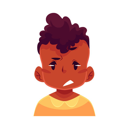 Little boy face, upset, confused facial expression, cartoon vector illustrations isolated on white background. black male kid emoji face, concerned, confused frustrated. Illustration