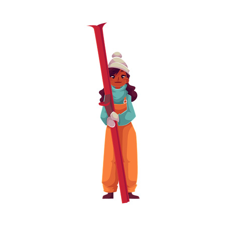 teen-aged black girl with ski, cartoon vector illustration isolated