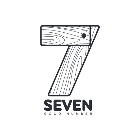 number seven: Black and white number seven   formed by wood planks, vector illustration isolated on white background. Black and white number seven graphic   for woodwork, carpenters, furniture makers