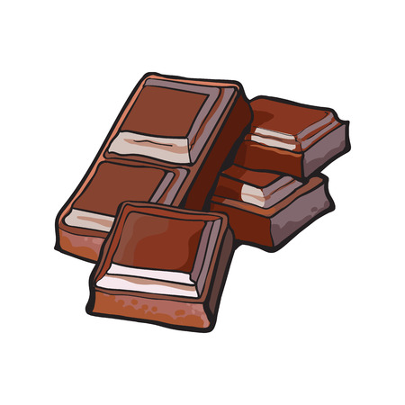 Pieces of dark chocolate bar, sketch style vector illustration isolated on white background. Hand drawn chocolate bar broken into pieces, appetizing realistic drawing Vektoros illusztráció