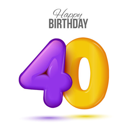 forty: forty birthday greeting card template with 3d shiny number tforty balloon on white background. Birthday party greeting, invitation card, with number 40 shaped balloon Illustration