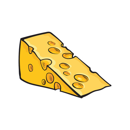 chunk: piece of Swiss cheese, sketch style illustration isolated on white background. Realistic drawing of an triangle chunk of fresh cheese with big holes