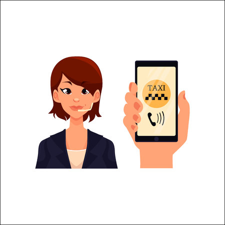 call centre girl: Female call center operator and hand holding smartphone with taxi calling app, cartoon illustration isolated on white background. Female taxi service operator and smartphone application