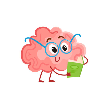 science symbols metaphors: Funny smiling brain in round glasses reading a book, cartoon illustration on white background. Cute brain character in nerdy glasses with a book as a symbol of brain training and education